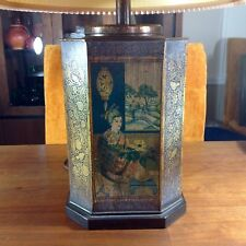 Vintage Frederick Cooper Chinese Chinoiserie Tin Tea Cannister Lamp Signed Shade