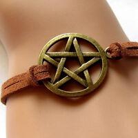 Neues inspirierte Braceletretro Bronze Anhänger Pentagramm Brown-Seil-Armba G3D