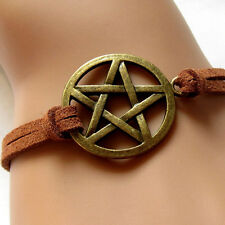New Inspired Bracelet Retro Bronze Pentagram Pendant Brown Rope Bracelet FT