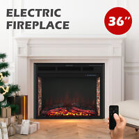 """36"""" Wall Mounted Insert Electric Fireplace Heater 750W/1500W w/ Remote Control"""