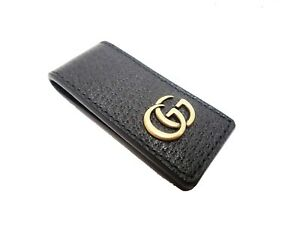 Authentic Gucci Bill Holder Money Clip GG Marmont Black Gold Tone