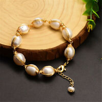 Natural White Freshwater Pearl Winding Bracelet Female Jewelry cultured luxury