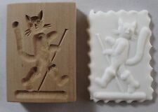 VINTAGE GERMAN WOODEN Springerle Butter Cookie Stamp Press Mold  PUSS IN BOOTS
