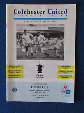 Colchester United v Exeter City - 16/11/91 - FA Cup 1st Round Programme