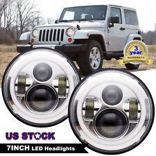 "2X 7"" 120W LED Headlights Round Angel Eye DRL For Jeep Wrangler JK/TJ/LJ/CJ Halo"