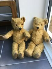 "Antique Straw Filled Jointed Teddy Bears 18"" X2"