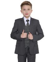 Boys Suits Boys Check Suits, Page Boy Wedding Prom Party Suit, Boys Grey Suit Tb