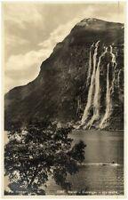 1931 Stempel BERGEN auf AK Wasserfall Waterfall Merok - Geiranger Real-Photo-Pc.