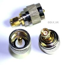 UHF PL259 male to SMA male plug RF connector adapter - UK seller