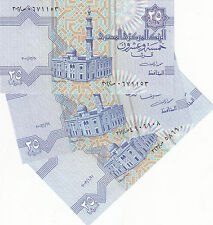 EGYPT 25 PT 2001 2002 2003 P-57 SIG/M.OYUN #20 LOT X3 UNC DIFFERENT DATES