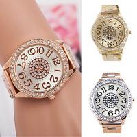 ITS- Women Luxury Big Numbers Round Dial Rhinestone Alloy Quartz Wrist Watch Pre