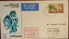 Lufthansa First Flight Cover - Singapore-Karachi 5. April 1965 - Stamp Sarawak