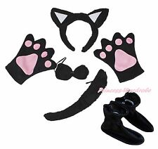 Black Cat Halloween Headband Bow Tail Paw Shoes 5pc Child School Party Costume