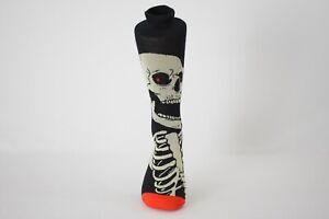 Men's Halloween Skeleton Bones Novelty Crew Socks Shoe Size 6-12.5