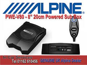 "Alpine PWE-V80 8"" 20cm Under Seat Active Amplified Subwoofer Bass Box"