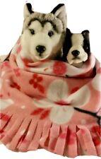 PINK  BLOSSOM  Fuzee Fleece Dog Blankets, Soft Pet Blanket Travel Throw Cover