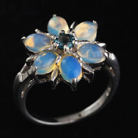 100% NATURAL 6X4MM LONDON BLUE TOPAZ ETHIOPIAN WELO OPAL SILVER 925 RING SIZE 7