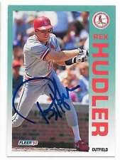 REX HUDLER 1992 FLEER AUTOGRAPHED SIGNED # 581 CARDINALS