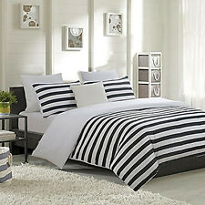 3 piece Duvet Cover set for Comforter and Pillow Shams Queen Black and White