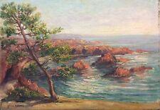 Corniche de l'esterel Antibes Peinture signée Félix Robert circa 1920 Provence