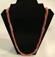 Gorgeous Fortunoff 5 Strand Natural Pink White Salmon Red Coral Pearl Necklace