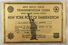 WWII Document Army Service Forces USS Washington New York Port of Embarkation