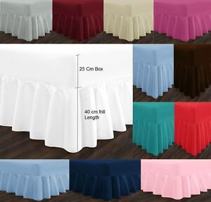 """Non Iron Percale Extra Deep 16"""" / 40cm Fitted Frill Valance Sheets Hotel Quality"""