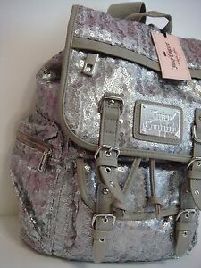 JUICY COUTURE DESIGNER SEQUINS GRAY LARGE FAUX LEATHER BACKPACK PURSE