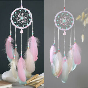 55cm Pink Feather Ring Dream Catcher Dreamcatcher Gift Room Car Decor Ornament