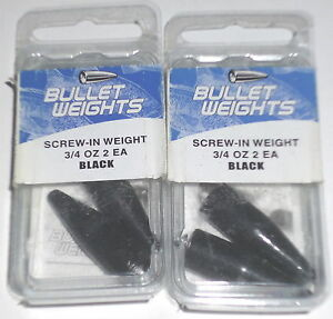 Bullet Weights 3/4 Screw-In Worm Weights (Lot of 2-Black-2/pk)