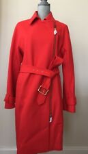 New J.Crew BELTED ZIP TRENCH COAT WOOL MELTON # E4396 Brilliant Flame Red 14