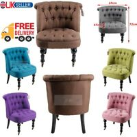 Tub Chair Lined Fabric Armchair Office Dining Living Room Tufted Back Buttons UK