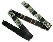 VTG Circa 1970 Dick Zachary Old Ajax Turquoise Cluster Concho Belt .925 Silver