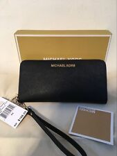 Michael Kors Jet Set Saffiano Leather Travel Wallet Wristlet Black Old Model