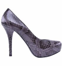 DOLCE & GABBANA Snakeskin Plateau Pumps Heels Shoes Python Grey 03985