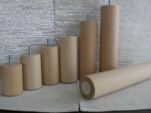 Couchfüße Möbelfüße Holzfüße RUND BUCHE NATUR M8 ∅=60mm. H-8cm. bis 30cm.