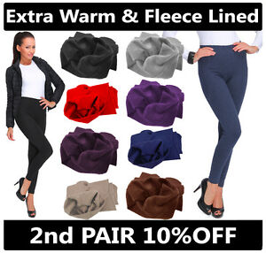NEW WOMENS WINTER FLEECE THERMAL WARM THICK FULL LENGTH LEGGINGS COLOURS