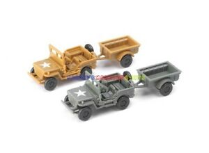 1/72 WWII USA Willys MB Jeep w/ Trailer American US Army Model Kit Color Choose