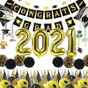 2021 Graduation Balloons and Party Decorations Kit - Black Gold and Silver Set