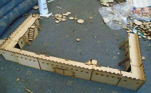 28mm Town or Castle walls 1300cm+ with building under walkway modular
