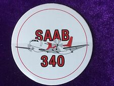 "Lot of 10 Vintage Saab 340 Turboprop Aircraft Plane Sticker Decal 3"" Round"