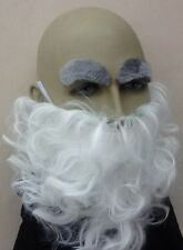 WHITE CURLY BEARD & GREY EYEBROW SET. FANCY DRESS ACC. WIZARD, GNOME, UK SELLER