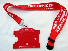 Brigade FIRE OFFICER Red/White Neck Lanyard & Service ID Pass Card/Badge Holder