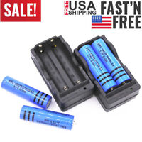 4PC 18650 Rechargeable Batteries 3000mAh 3.7V BRC Li-ion Battery+2X Dual Charger