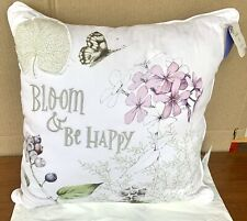 Marjolein Bastin Bloom & Be Happy Floral Butterfly 17� Sq Pillow Nwt Hallmark