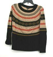 Talbots Womens Multi Colored Print Sweater Crew Neck Long Sleeves Size Medium