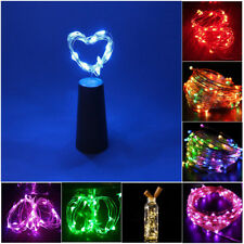 Wine Bottle Copper Wire String light LED Flame Bulb Cork Indoor Party Decor