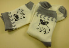 2 Paar Damen Herren Socken Hund Hunde Mops creme hell grau Gr. 37 - 40 NEU