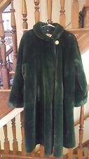Vintage Green Faux Fur Full Length Coat Duster 60s 70s w/ Bakelite Button M/L