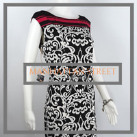 Jessica Howard Womens Sleeveless Size M Black White Floral Sheath Dress 8067